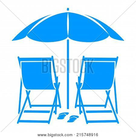 vector deck chairs and flip flops under beach umbrella isolated on white background