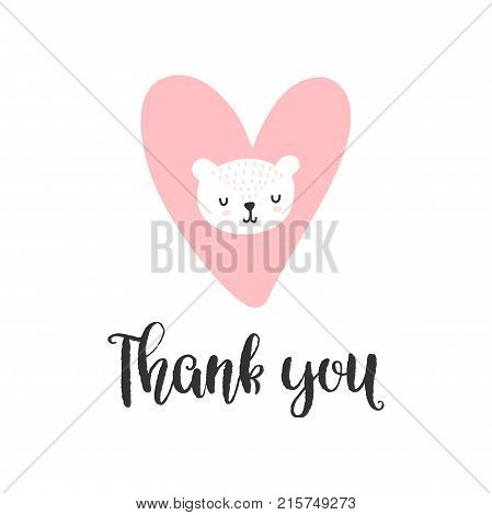 Colorful childish vector card. Lettering with illustration in Scandinavian style. Creative poster with bear and phrase.