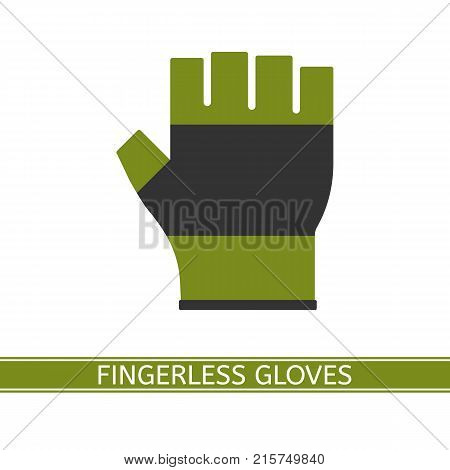 Vector illustration of fingerless glove isolated on white background. Half finger gloves in flat style. Fishing hiking and sport equipment.