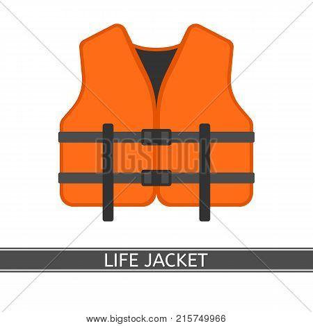 Vector illustration of orange life jacket isolated on white background flat style.