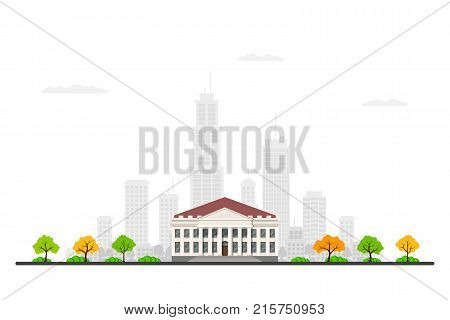 Picture of a bank building with big city sillhouette on background. Urban landscape. Flat style illustration.