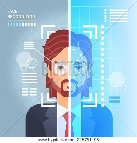 Face Recognition System Scanning Eye Retina Of Business Man Modern Identification Technology Access Control Concept Vector Illustration