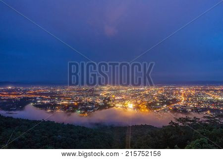 Landscape of Chiang mai cityscape and cloud mist Thailand.