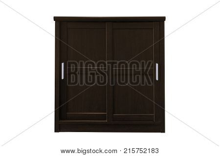 Wooden cabinet isolated on white background work with clipping path.