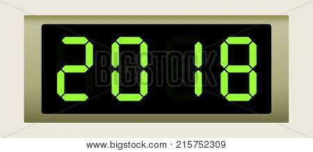 Electronic scoreboard with the number 2018. Vector illustration.