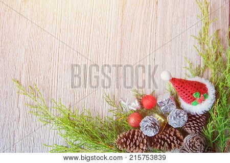 Christmas decoration on wooden background with copy space.