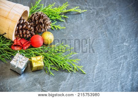 Christmas decoration on stone background with copy space.