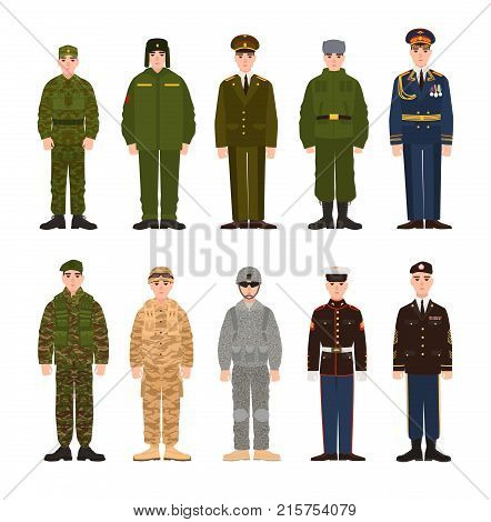 Collection of Russian and American military people or personnel dressed in various uniform. Bundle of soldiers of Russia and USA. Set of flat cartoon characters. Modern colorful vector illustration