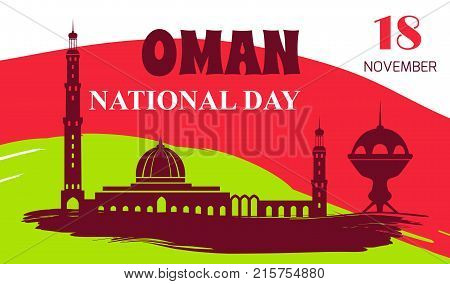 Oman National Day 18 November colorful poster with silhouette of mosque and other architectural objects. Vector illustration on national flag of country
