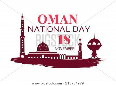 Oman National Day symbol with country flag with silhouettes of mosque and traditional architectural objects vector illustration on white background