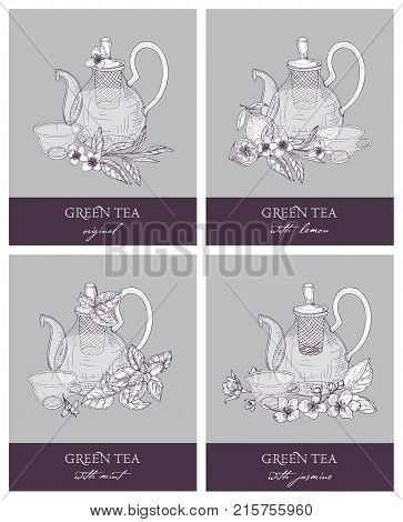 Bundle of gorgeous outline drawings of teapot, cup, green tea leaves, flowers, lemon, mint and jasmine. Set of delicious naturally flavored beverages. Vector illustration in retro etching style