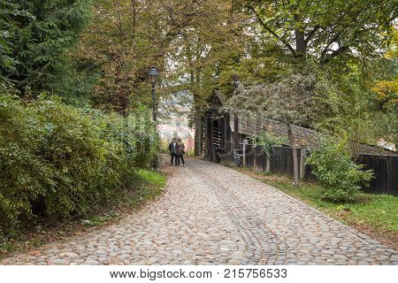 Sighisoara Romania October 08 2017 : The path leading from the Church of the Deal (St. Nicholas) to the castle in Old City. Sighisoara city in Romania