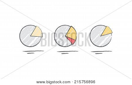 Pie chart diagram icons for representing statistics isolated on white background. Vector illustration with tree pie charts with different ratio
