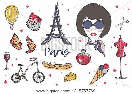 Collection of Paris and France elements - fashionable Parisian woman, perfume, french cheese, baguette, Eiffel Tower, glass of red wine hand drawn in doodle style and isolated on white background