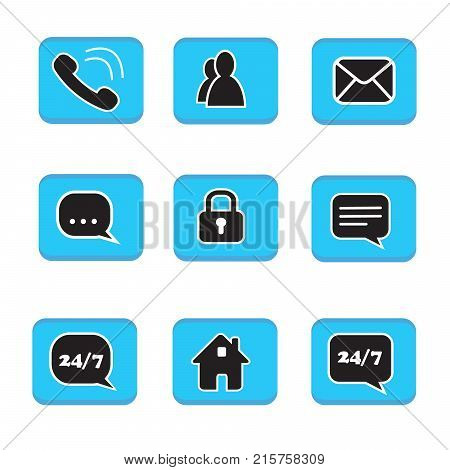 Set Of Web Button Icons Contact Symbol Collection Black And White On Blue Button Phone Mail Life Cha