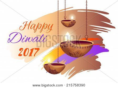 Happy diwali 2017 promotional poster with headline sample and icons of diyas with flames, represented on vector illustration isolated on white