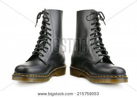New black boots for army and travel isolated on white background.