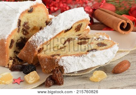 A background with german chistmas rosins bread