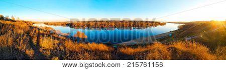 Beautiful panorama of Oka river Kolychevo district, in autumn day November. Moscow region city of Kolomna.