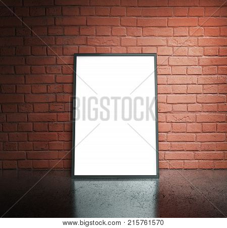 Blank white paper poster in black frame at red brick wall and concrete floor. Grungy interior poster mock up. Presentation for artwork. 3d rendering illustration