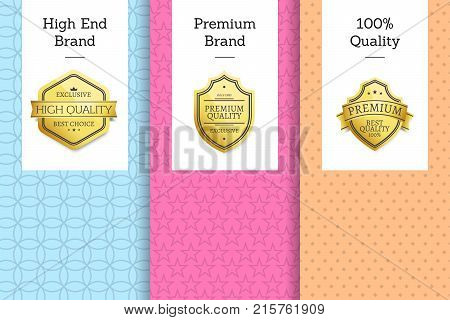 High end brand premium quality 100 award golden labels set of logos design on colorful posters with text vector illustrations on bright backgrounds