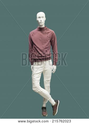 Full-length male mannequin dressed in casual clothes (sweatshirt and trousers) over green background. No brand names or copyright objects.