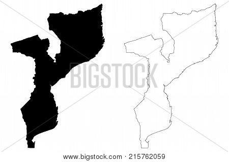 Mozambique map vector illustration , scribble sketch Republic of Mozambique