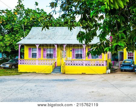 George Town, Grand Cayman, Cayman Islands, Nov 2017, Caribbean style house