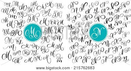 Set letter M, N. Hand drawn vector flourish calligraphy. Script font. Isolated letters written with ink. Handwritten brush style. Hand lettering for logos packaging design poster.