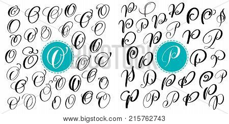Set letter O, P. Hand drawn vector flourish calligraphy. Script font. Isolated letters written with ink. Handwritten brush style. Hand lettering for logos packaging design poster.