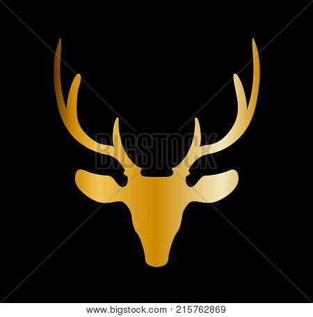 Golden Silhouette Of Reindeer Head With Big Horns Isolated On Black Background