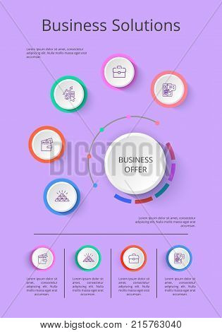 Business solution presentation with icons of income statistics and market analysis on gray background vector illustration for startup demonstration