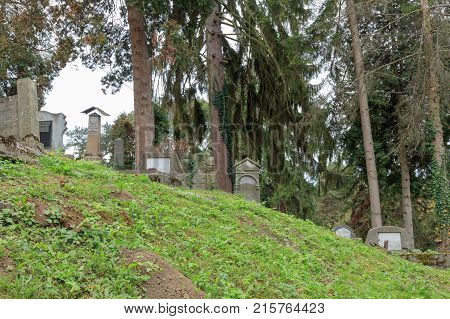 Sighisoara, Romania, October 08, 2017 : An old cemetery located in the castle in Old City. Sighisoara city in Romania