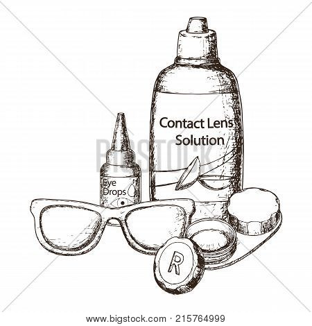 Contact lens solution lens case and eye glasses on white background sketch cartoon illustration of medical accessory for correct vision. Vector