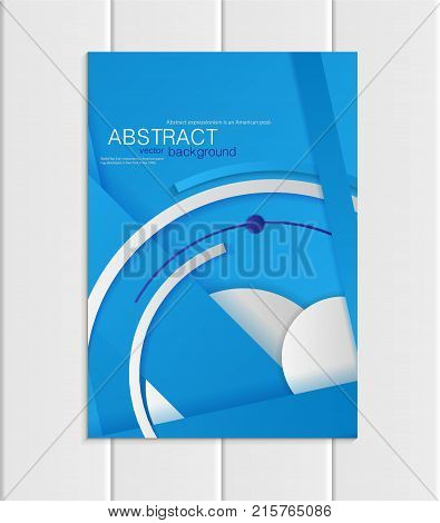 Stock vector brochure A5 or A4 format material design style. Design business templates with abstract gray round shapes on blue backgrounds for printed material, element corporate style, card, cover