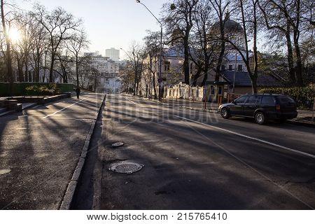 Quiet European street quiet sunny morning in the city