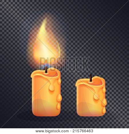 Two wax candles on transparent background. Vector illustration with one yellow brightly burning candle illuminating another extinct one