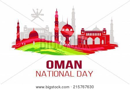 Oman National Day greeting card with silhouettes of mosque and other traditional architectural objects vector illustration on white background