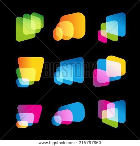 Digital screen of mobile device, bright vector logo set. Multitasking systems, big data bases, abstract forms, logo template. Cinema display icons collection, abstract stylized shapes