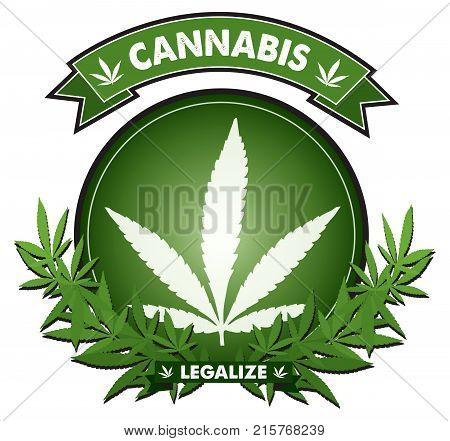 Cannabis marijuana leaf Badge design vector logo
