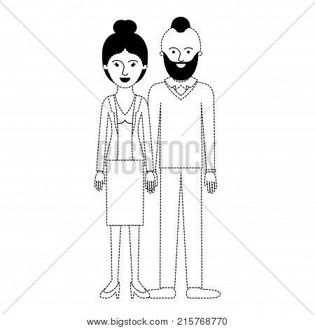 couple in black dotted silhouette and her with blouse and jacket and skirt and heel shoes with collected hair and him with beard and sweater and pants and shoes with taper fade haircut vector illustration