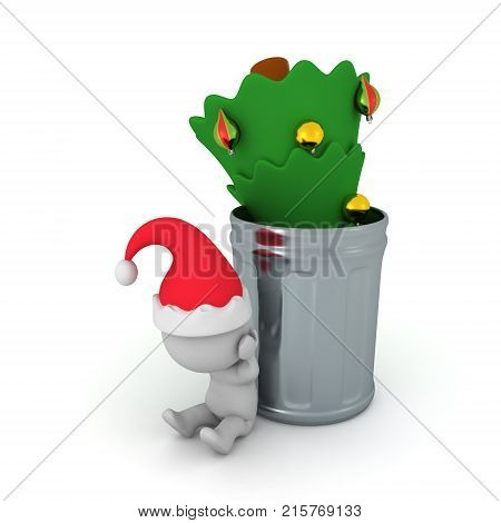 3D illustration of christmas tree thrown in a garbage can and sad Santa Claus. Isolated on white.
