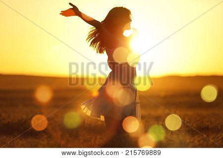 Sun light sunset woman fun beautiful happy