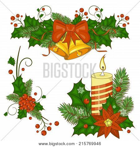 Colorful cartoon illustration of Christmas bells on a white background. Happy new year. Set of elements for your design. Stock vector.