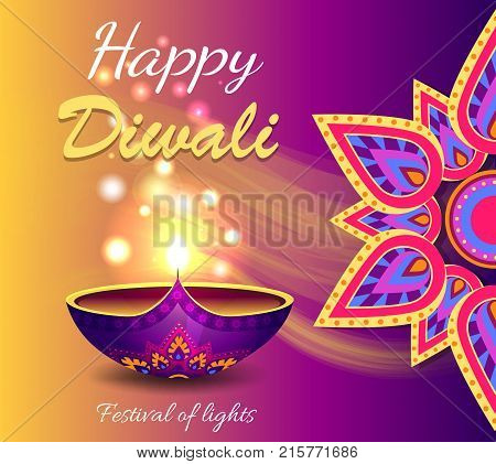 Happy diwali festival of lights promotional poster, depicting traditional diya lamp with glowing and mandala symbol vector illustration