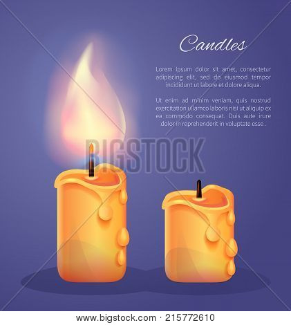 Candles burning and extinguished vector illustration with text isolated on blue background. Realistic flame of candlelight, warm melting wick vaporizing