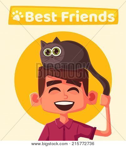 Cute kid and funny cat. Cartoon vector illustration. Friends and family. Kitty on head. Character design. For poster, banner, website, flyer, advertisement. Pet shop or home. Lovely pets