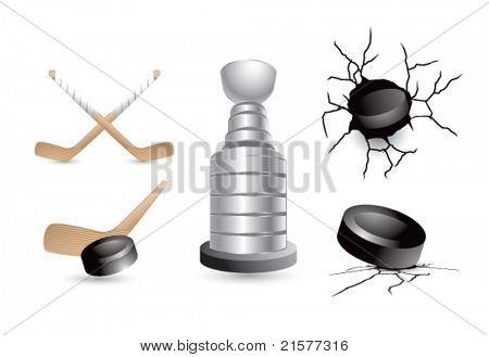 Hockey pucks, sticks, and trophy on white background