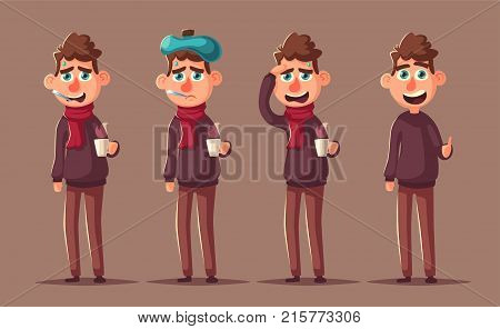 Sick man. Unhappy character. Vector cartoon illustration. Man with cup of tea in hand. Season allergy. Person in scarf with thermometer in his mouth. Winter flu