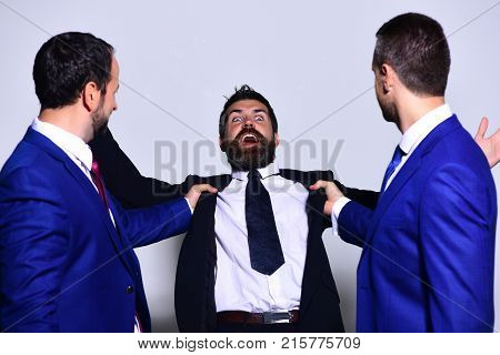 Company Leaders Fight For Business Leadership. Businessmen With Scared Faces